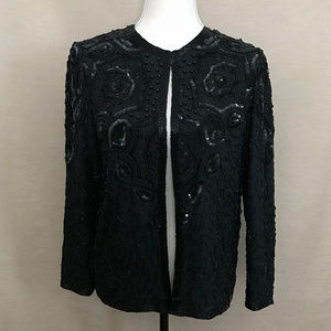Adrianna Papell Black Beaded Silk Evening Jacket